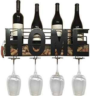 Home Wine Rack Wall Mounted Hanging Wine Cork Holder Holds 4 Bottles And 4  Wine Glasses