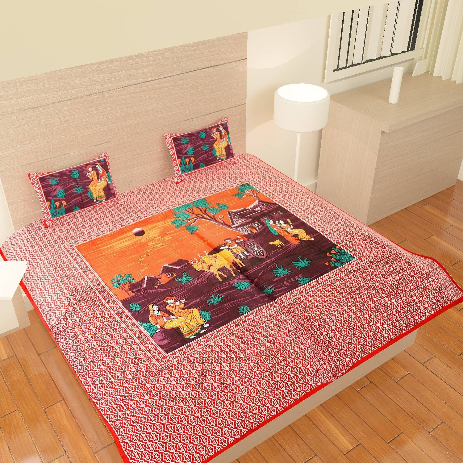 traditional mafia rses777795 Collection Printed Double Bed Sheet Set with 2 Pillow Covers, King, Red