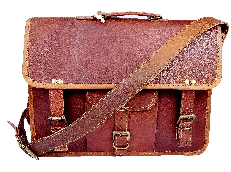 Sankalp Leather Men's Genuine Vintage Brown Leather Messenger Shoulder Laptop bag Briefcase NEW