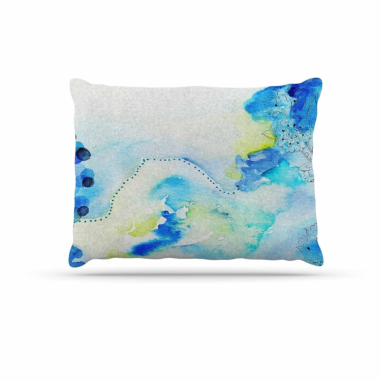 KESS InHouse Li Zamperini Deep bluee Sea Teal Watercolor Dog Bed, 30  x 40