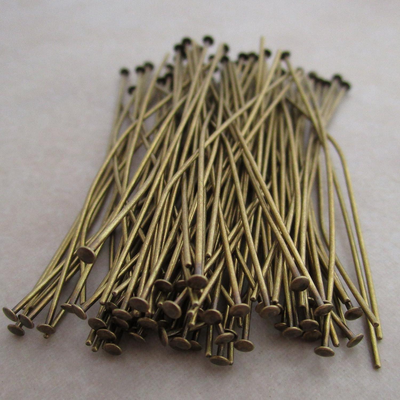 100 Antiqued Brass Headpins 2 Inch 21 Gauge 0793945630585