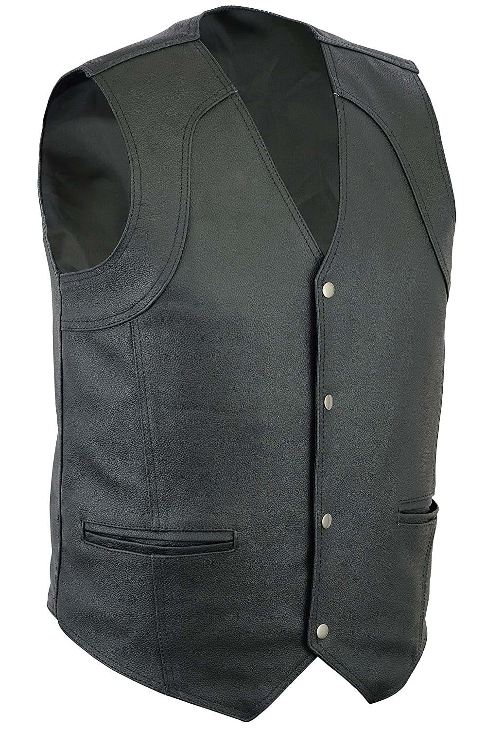 S Turin Mens Motorcycle//Biker Classic Fit Casual 4 Pocket Leather Waistcoat