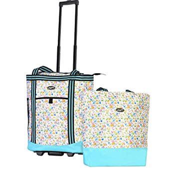 6a69debe5 Amazon.com | Olympia 2-Piece Rolling Shopper Tote and Cooler Bag, Beach |  Carry-Ons