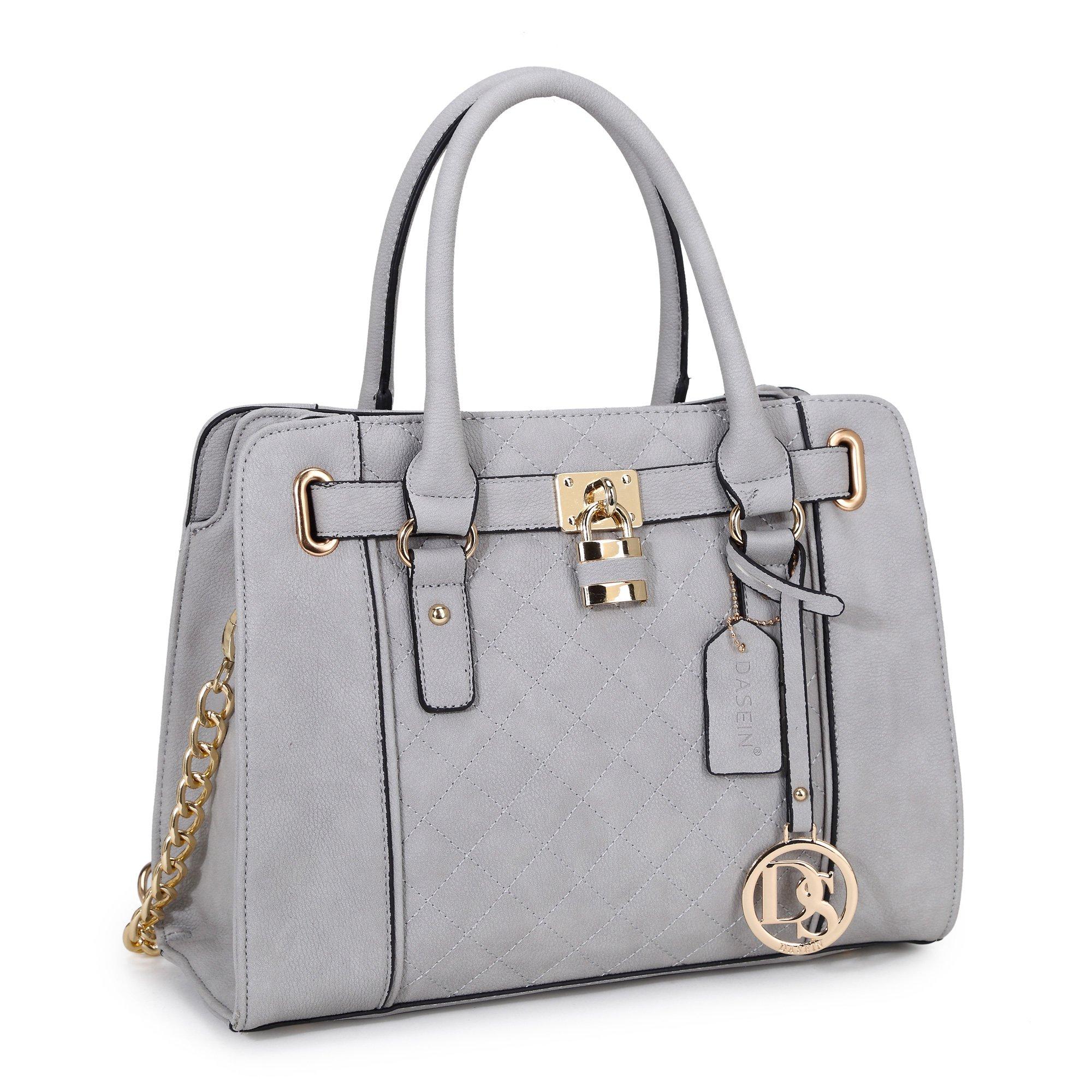 Dasein Womens Handbag Fashion Padlock Shoulder Bag Structured Satchel Bag Designer Purse