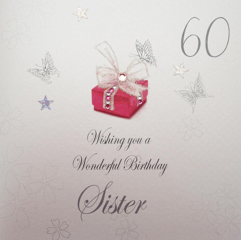 WHITE COTTON CARDS 60 Wishing You A Wonderful SisterHandmade 60th Birthday Card Red Pressie