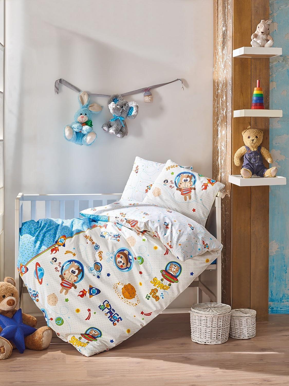 bekataスペースFun Monkey、100 %コットン赤ちゃん男の子ベビーベッド寝具ベビー布団カバーセット、Made in Turkey – 4ピース   B07BN4B2XS