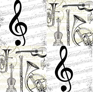Music Themed Cocktail Napkins Variety Pack 40 Paper Beverage Napkins Musical Notes