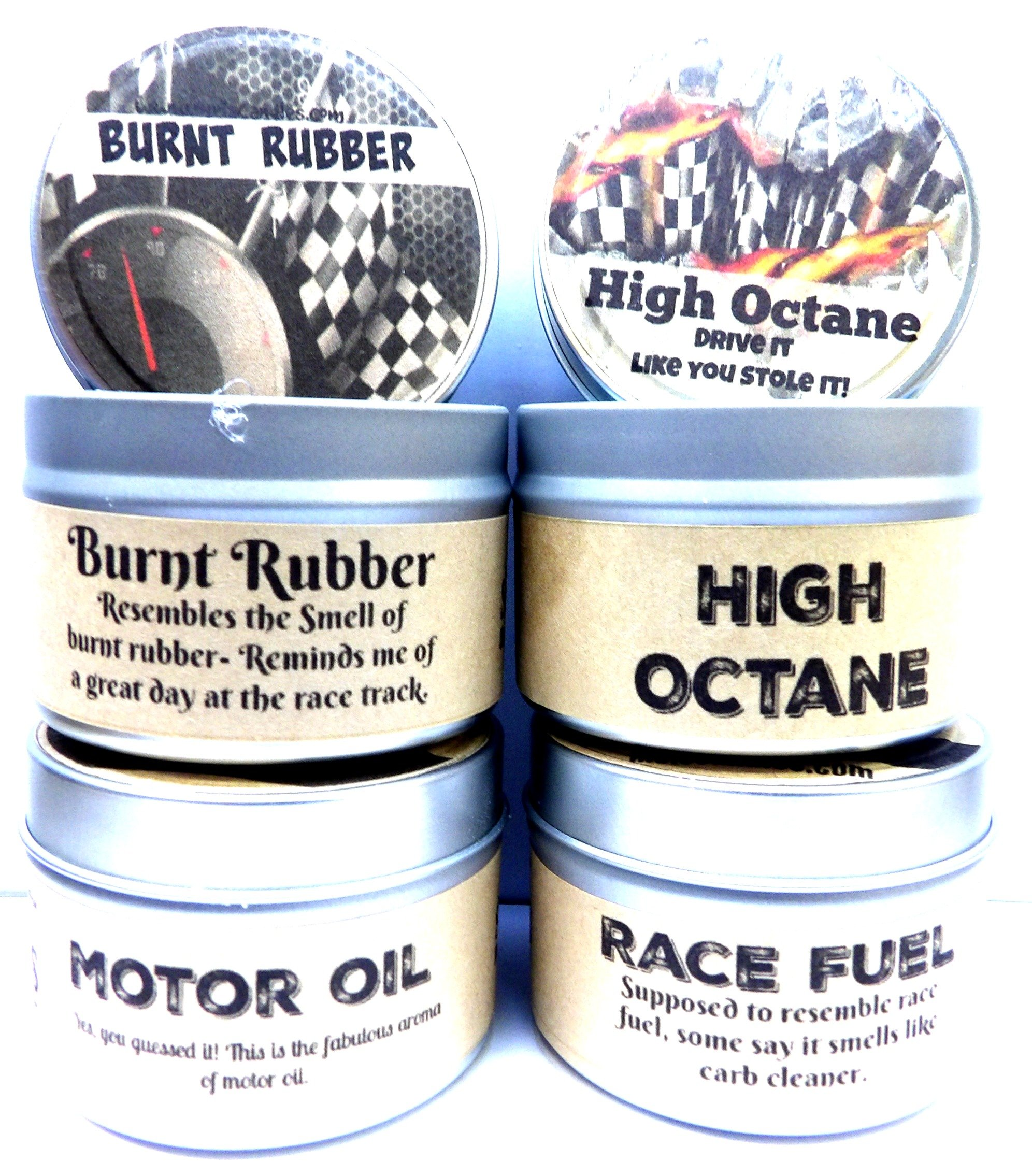 Combo Set of 4 - High Octane, Race Fuel, Motor Oil & Burnt Rubber 4 Oz All Natural Soy Candle Tins by Mels Candles & More (Image #1)