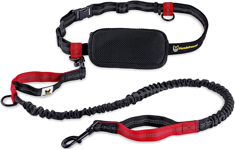 Laisse mains libres pour chien | Élastique 120 cm à 200 cm pour le jogging avec sac, ceinture abdominale Hundefreund