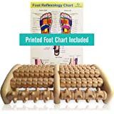 TheraFlow Large Dual Foot Massager Roller - Plantar Fasciitis, Heel & Arch Pain Relief- *2017 Enhanced Model* - Laminated Printed Foot Chart & Detailed Instructions Included