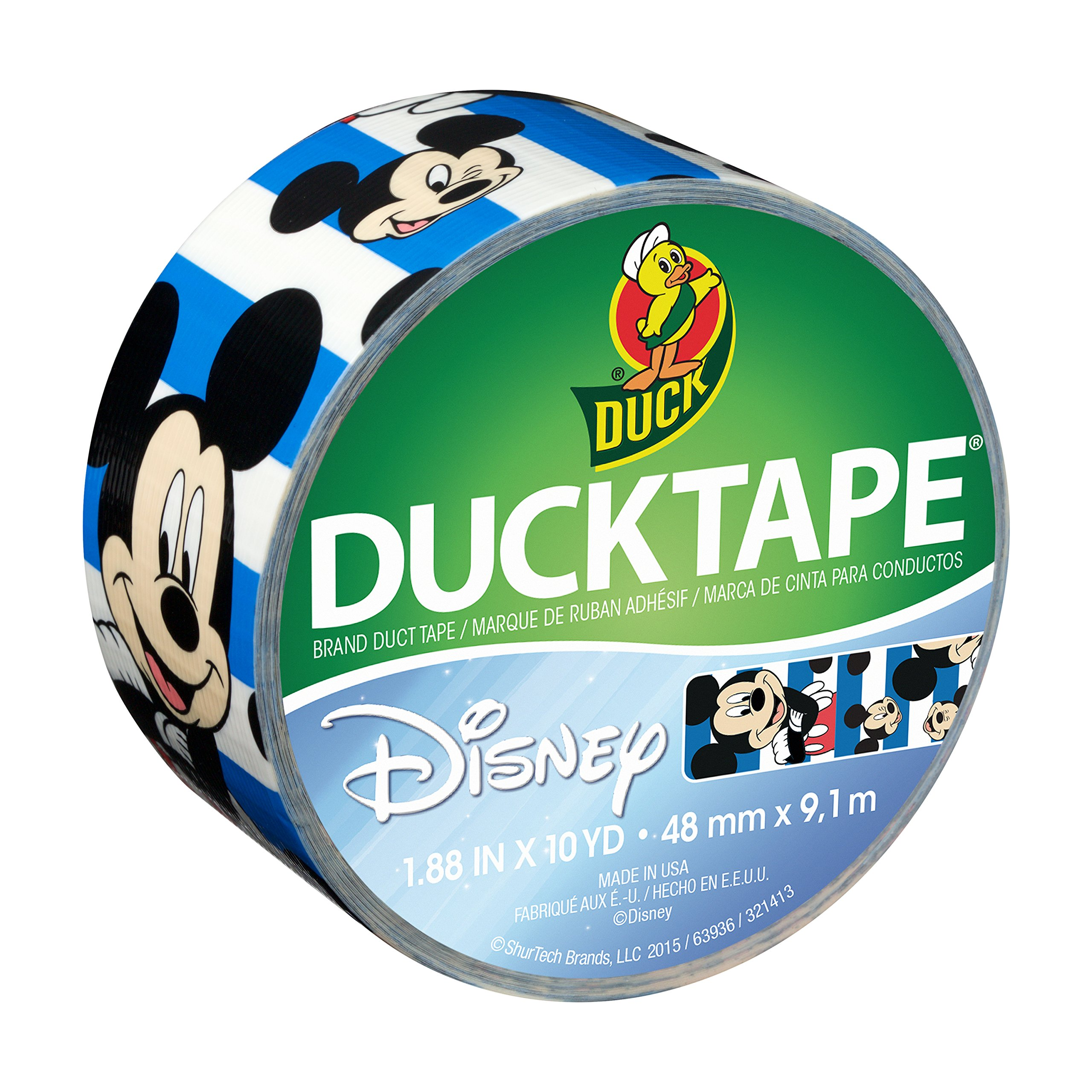 Duck Brand 284703 Disney-Licensed Mickey Mouse Printed Duct Tape with Blue Stripes, 1.88 Inches x 10 Yards, Single Roll by Duck