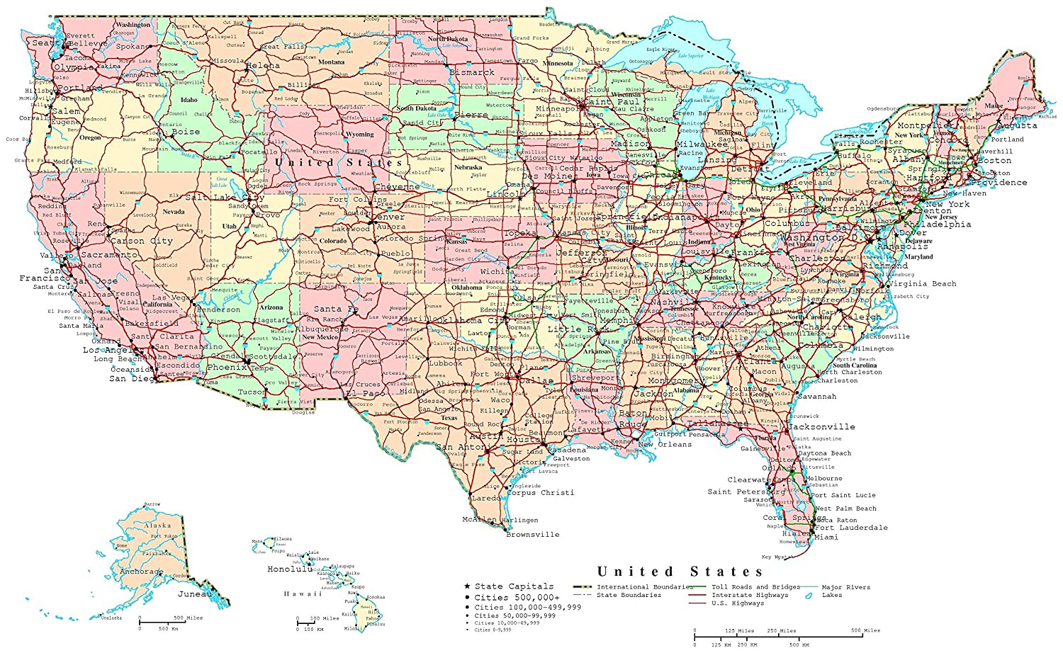 Amazon.com: Home Comforts Laminated Map - Us Map Interstate ...