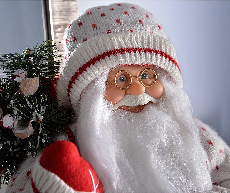 WeRChristmas 100 cm Mantiene en pie dise/ño de Pap/á Noel Decorativo con piernas Extensibles