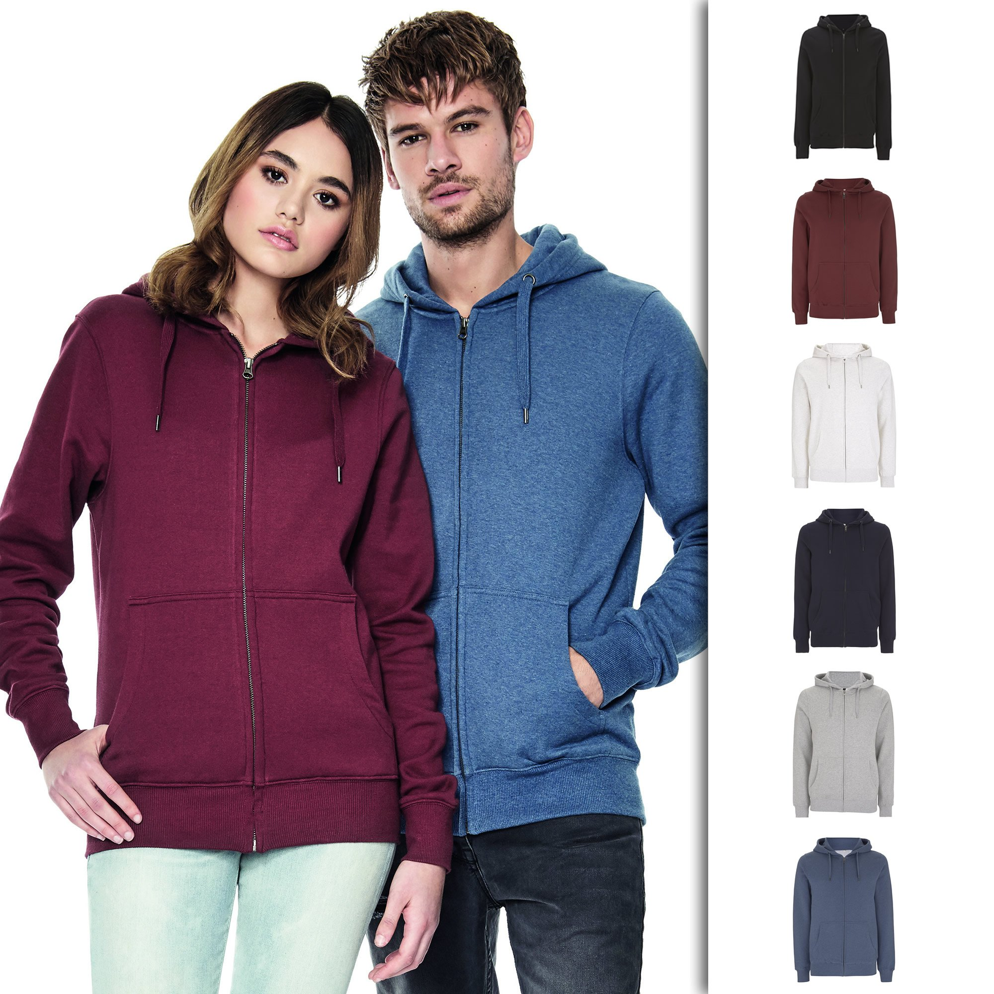 Underhood of London Navy Zip Up Hoodie For Women | Lightweight Organic Cotton Womens Jacket | Medium
