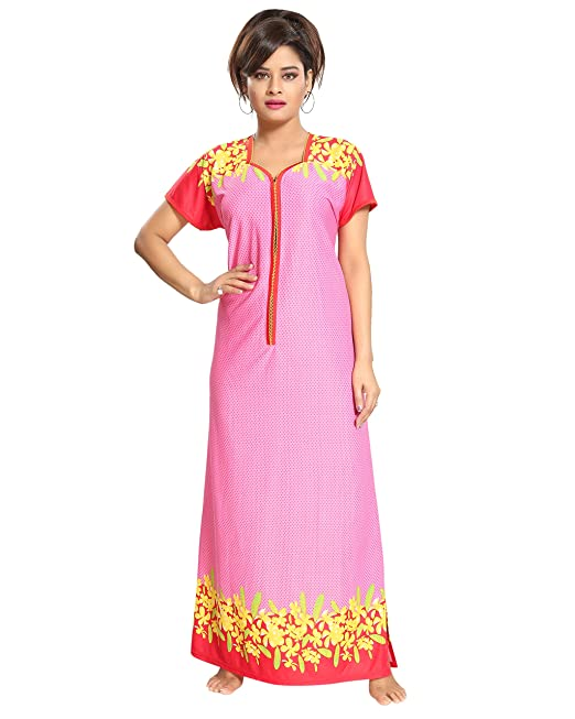 TUCUTE Women s Floral Print Border Nighty Night Gown Nightwear Nightdress Sleepwear  with Long Zip Pattern (Pink- 1928)  Amazon.in  Clothing   Accessories 21141ffe7