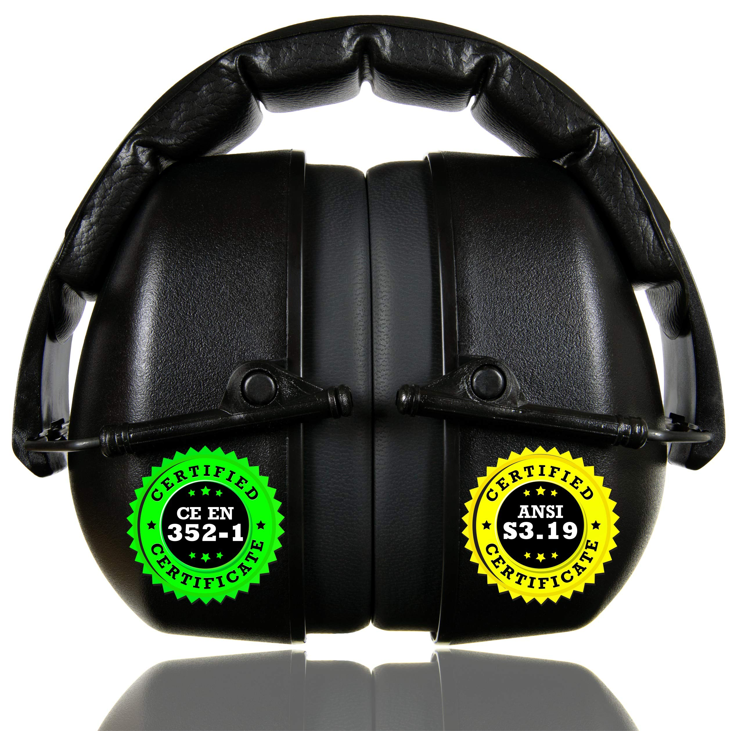 ClearArmor 141001 Shooters Hearing Protection Safety Ear Muffs Folding-Padded Head Band Ear Cups, Black by ClearArmor