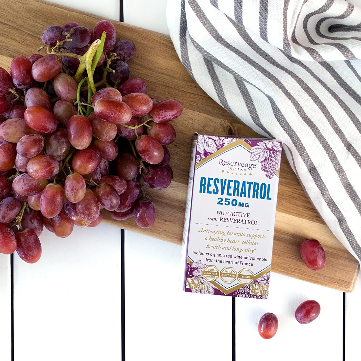Amazon.com: Reserveage - Resveratrol 250mg, Antioxidant Support for a  Healthy Heart and Age Defying, Youthful Looking Skin with Organic Red  Grapes and ...