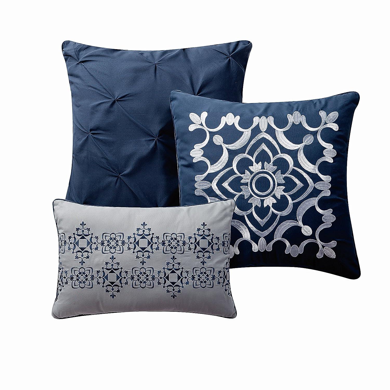 Avondale Manor Callais 7-Piece Comforter Set Blue Geneva Home Fashion CLS7CSQUENGHBL Queen