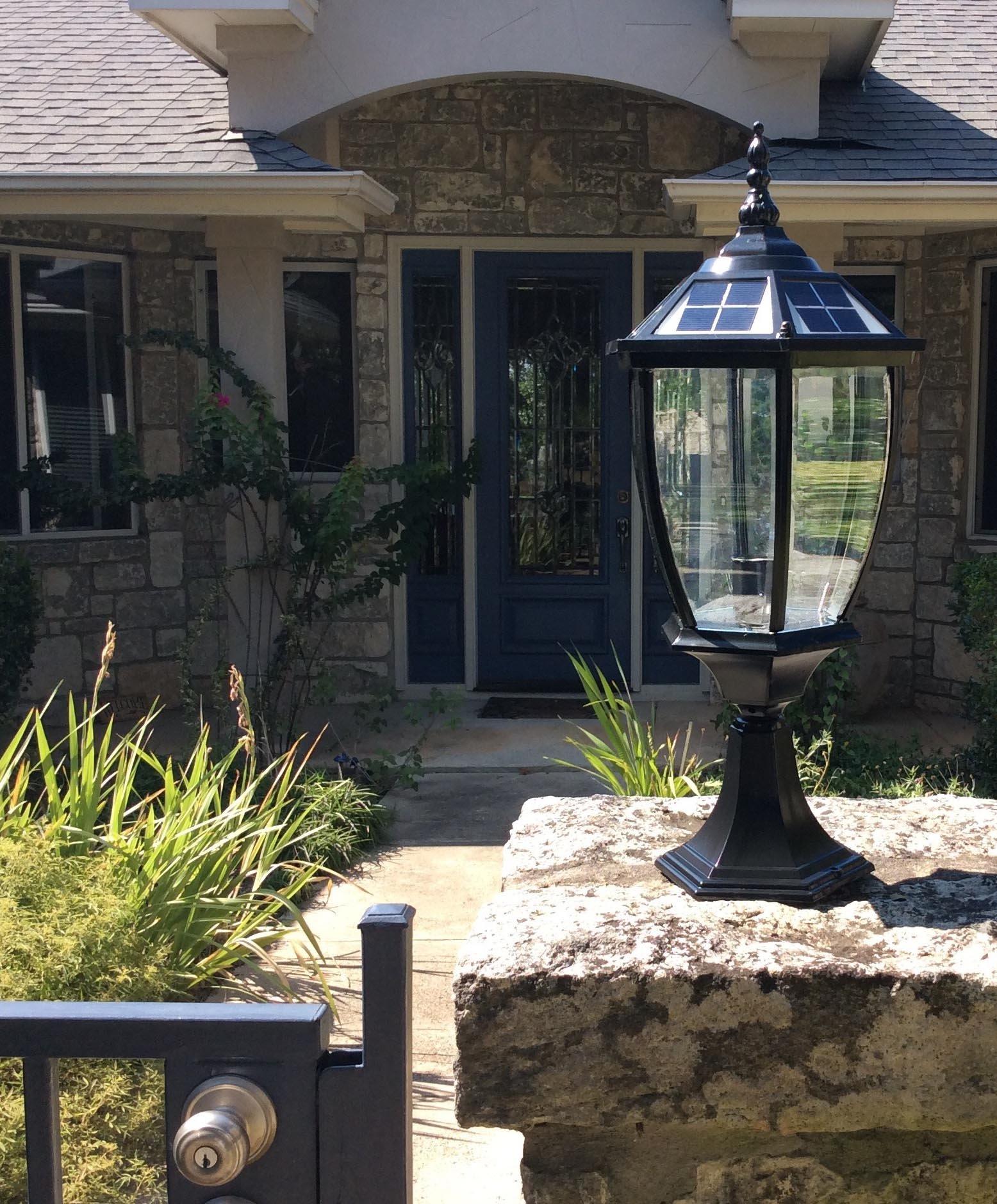 The Round Extra Large Solar Post Cap Lights or Solar Pillar, Diameter: 9.8 Inch; Height: 20.5 Inch. Solar Powered Post Caps. Elegantly Designed Solar Light Post Caps (New Metal Black) by Smart Light (Image #4)