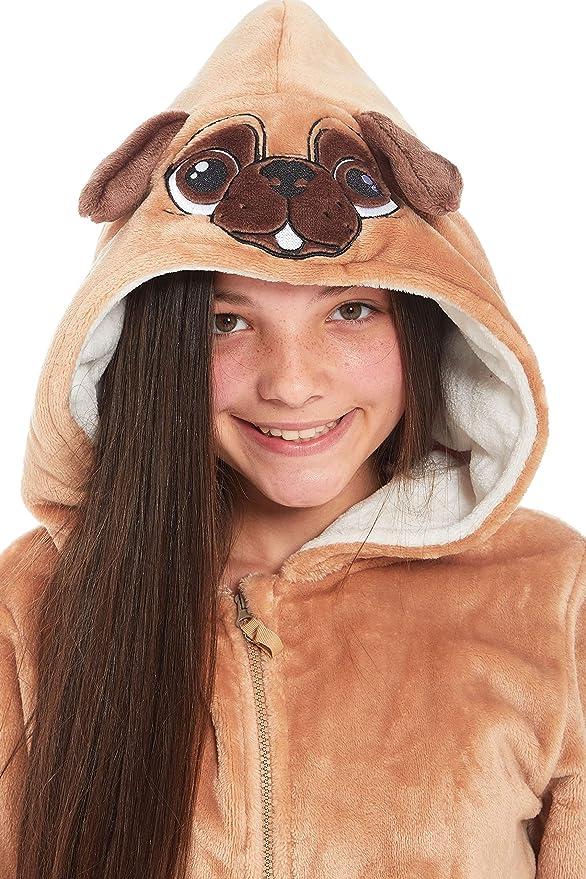 Slumber Hut/® Girls Pug Dog Fleece Onesie Novelty Animal Face Hood Childrens All in One Snuggle Pyjamas 7 to 13 Years