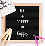 Letter Board with Cursive Words | 10x10 Black Felt Changeable Message Board Sign with Oak Frame | 297 Letters, Numbers, Symbols, Shapes and Cursive Words