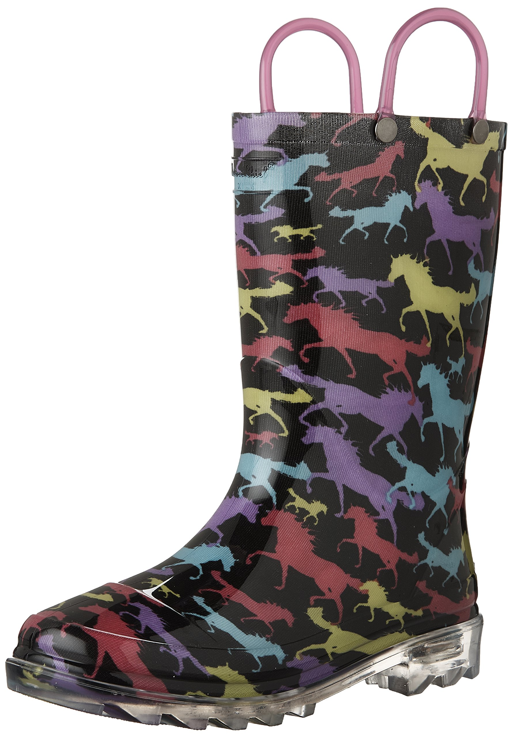 Western Chief Girls Waterproof Rain Boots That Light up with Each Step, Horse Dreams, 10 M US Toddler
