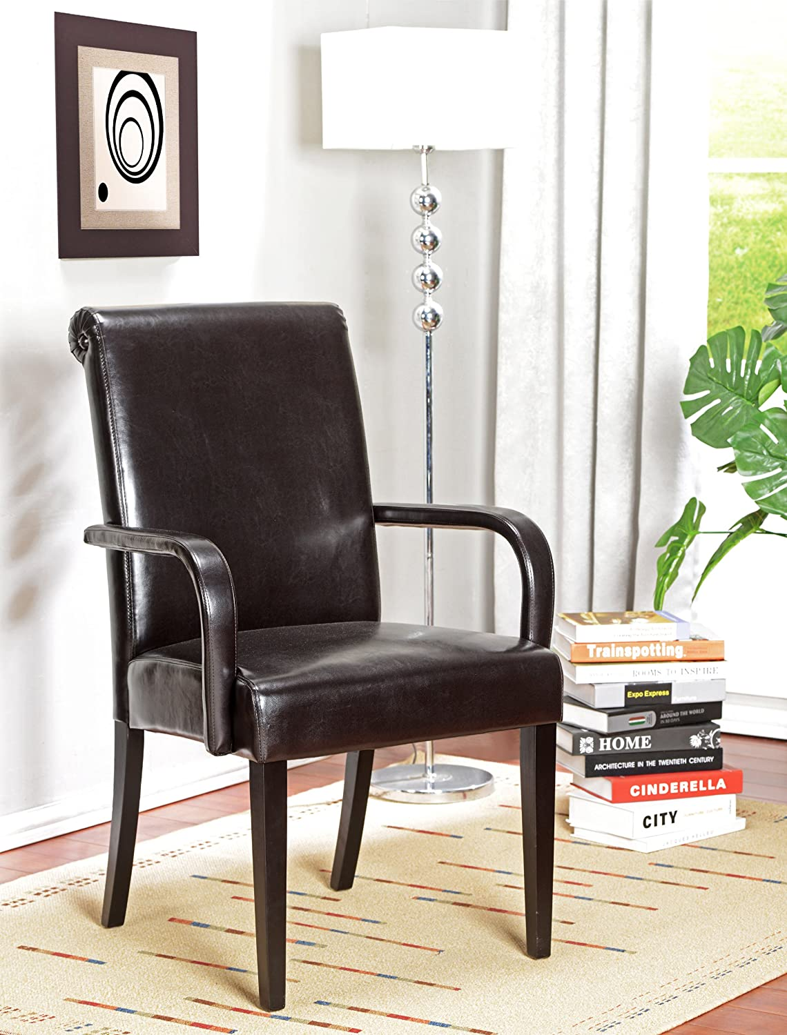 Amazon.com: Kingu0027s Brand Set Of 2 Espresso Parson Chairs With Arms And  Solid Wood Legs: Kitchen U0026 Dining