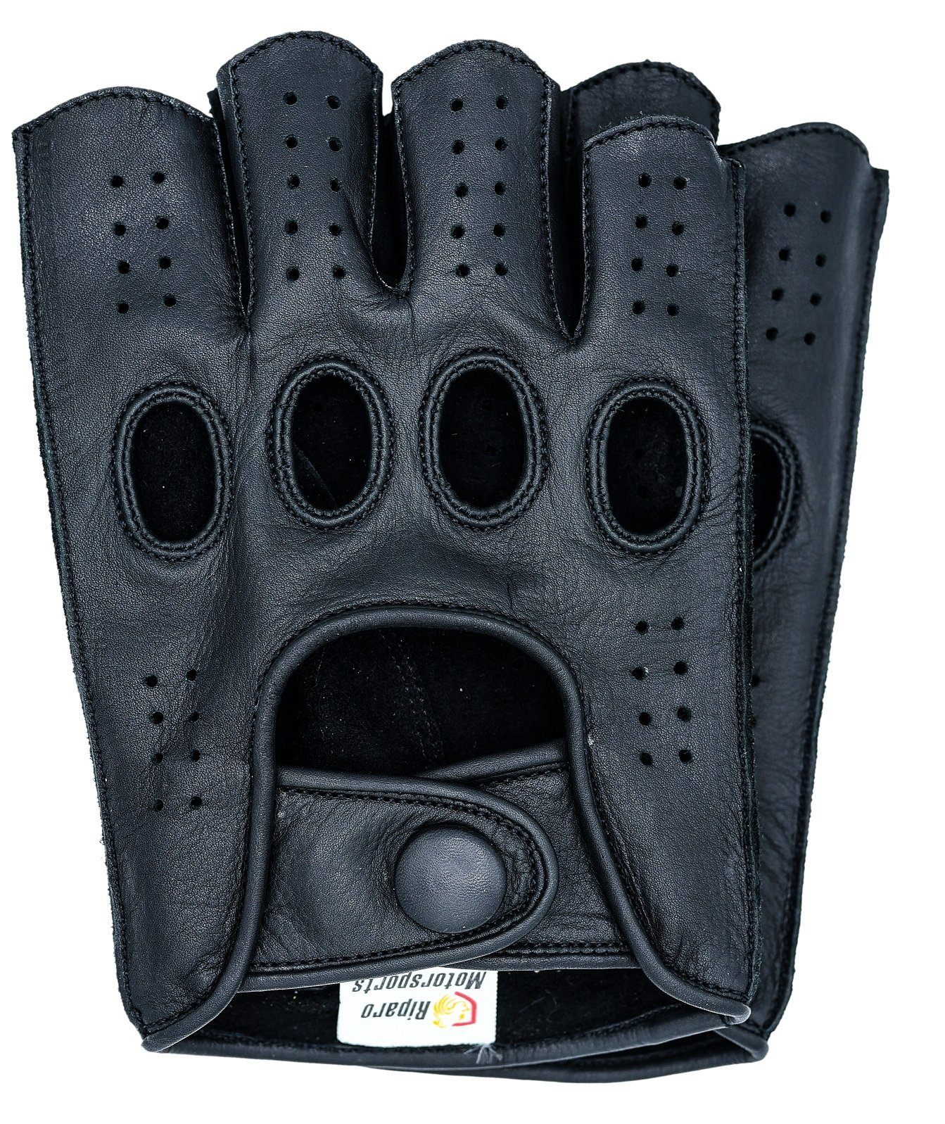 Riparo Women Genuine Leather Reverse Stitched Half-Finger Driving Motorcycle Gloves (7.5, Black)