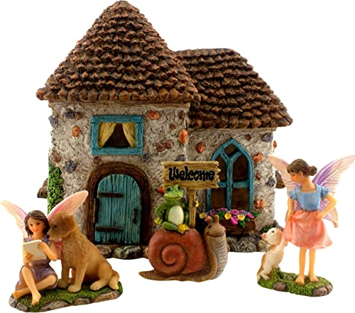 PRETMANNS Fairy Garden House Kit – Accessories with Miniature Fairies Welcome Sign Fairy House is 6 High Fairy Garden Supplies 4 Pieces