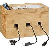 Relaxdays Kabelbox bamboe, multi laadstation hout, kabelmanagement bureau, 16,5 x 25,5 x 14 cm, naturel