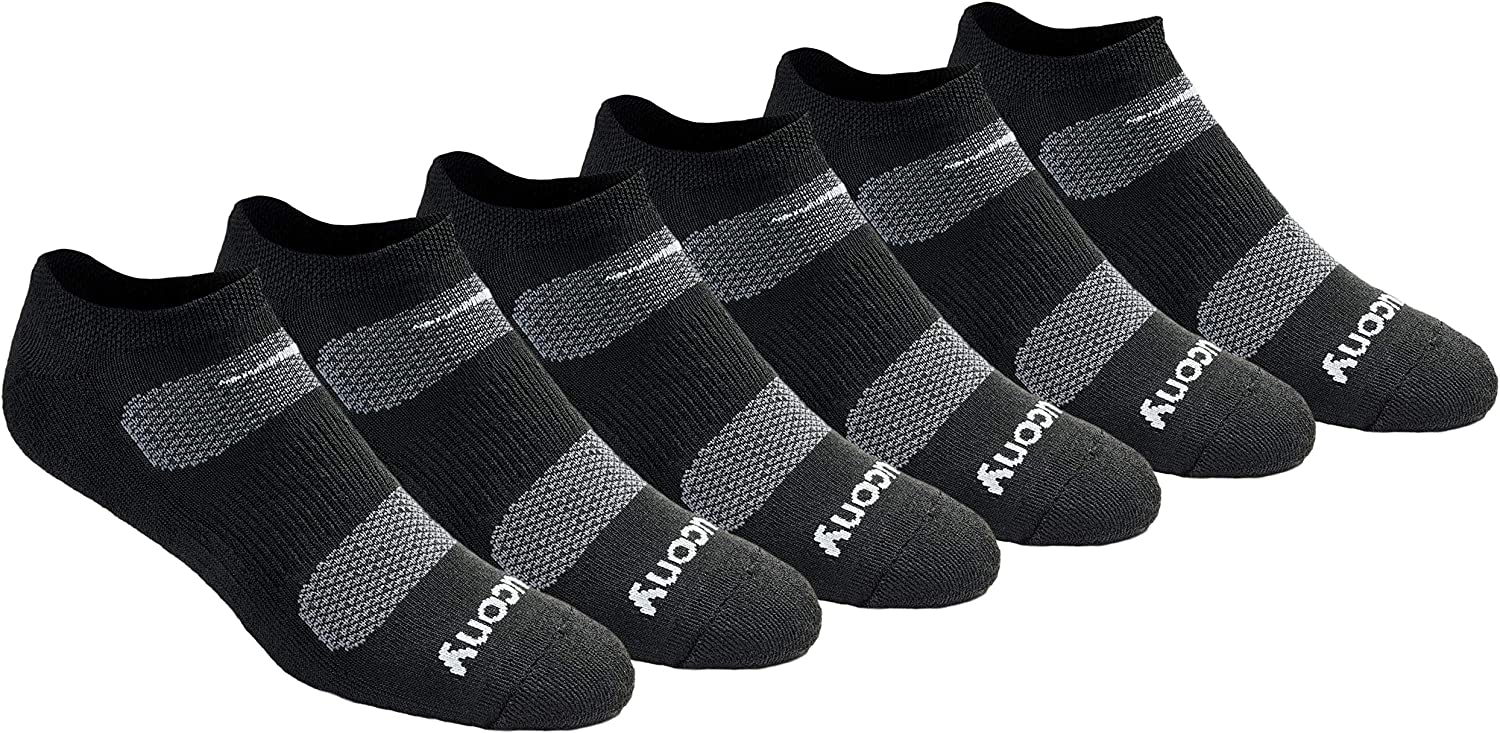 Saucony Men's Multi-pack Mesh Ventilating Comfort Fit Performance No-show Socks at  Men's Clothing store