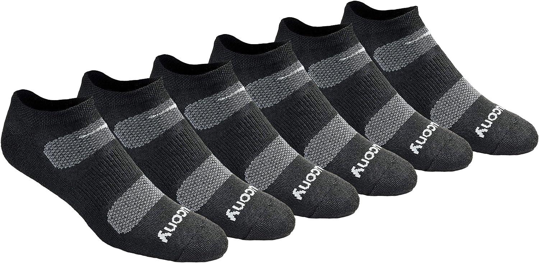 Saucony Men's Multi-Pack Mesh Ventilating Comfort Fit Performance No-Show Socks