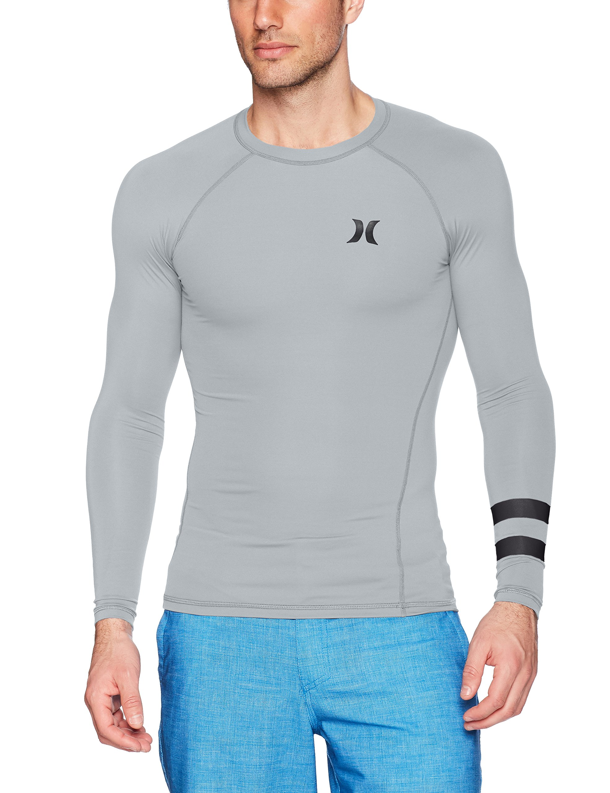 Hurley Men's Long Sleeve Pro Light Quick Dry Sun Protection Rashguard, Wolf Grey, L