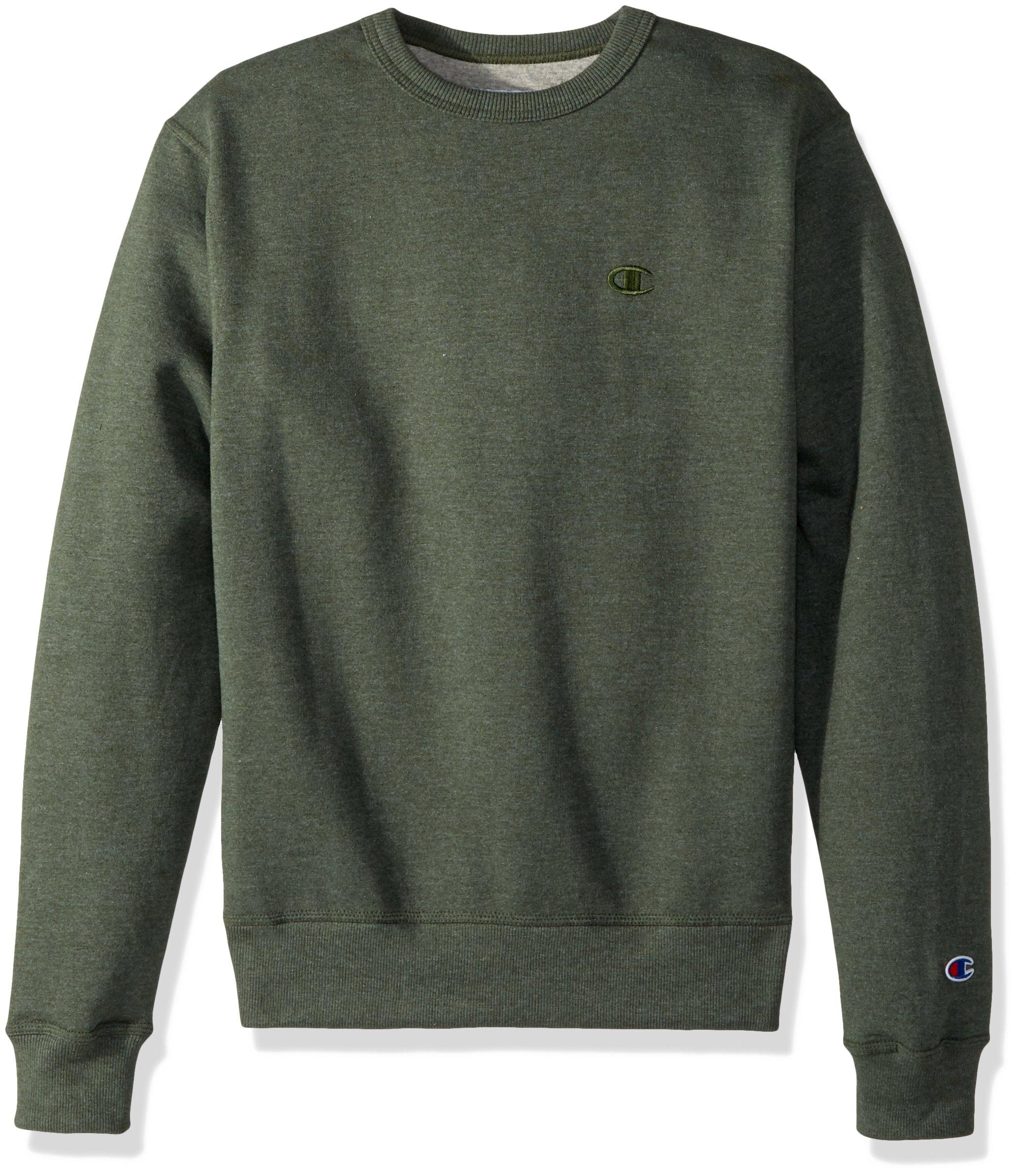 Champion Men's Powerblend Fleece Pullover Sweatshirt, Forest Grove Heather Small