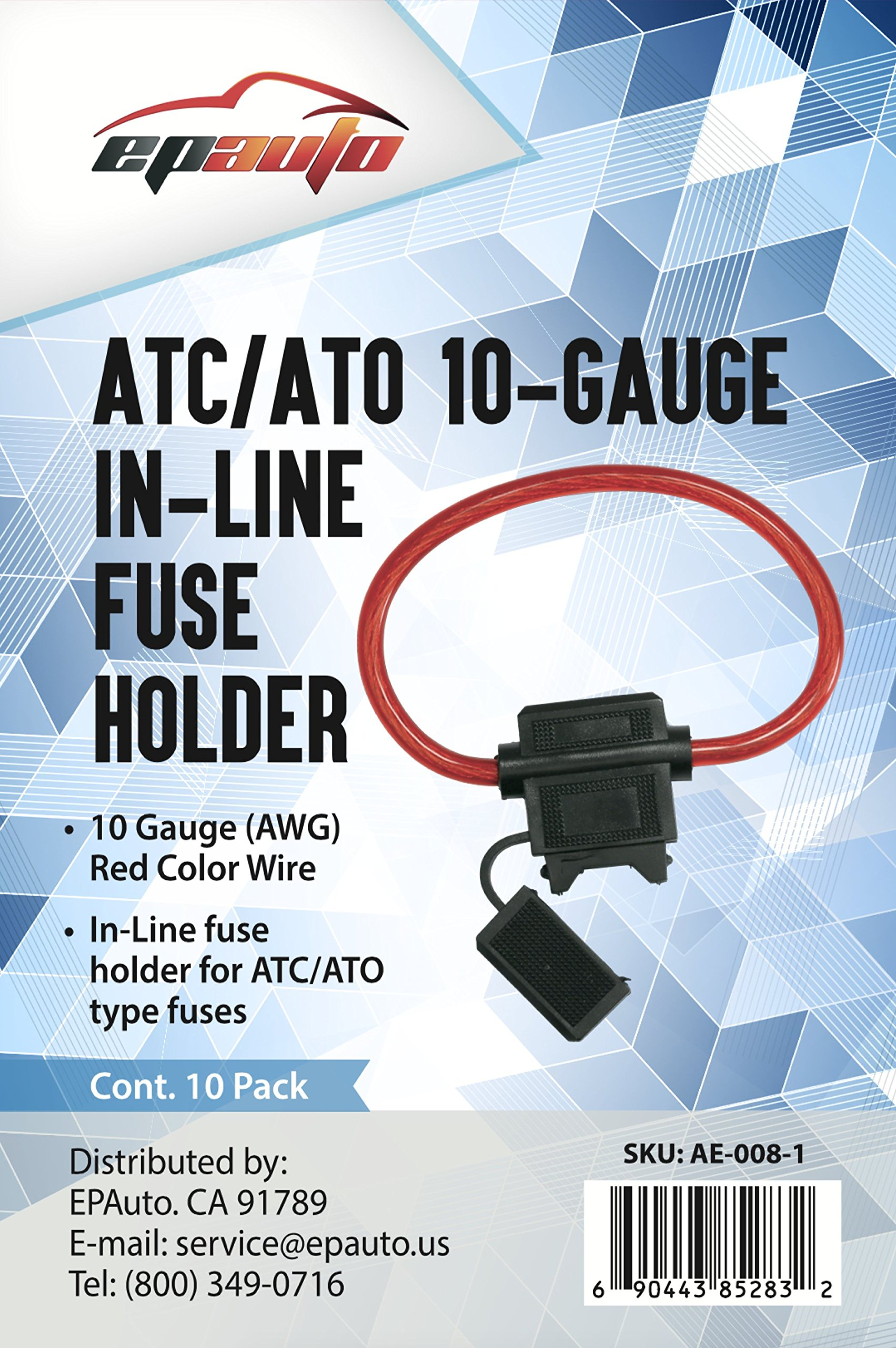 10 Pack Epauto Atc Ato Gauge 30 Amp In Line Fuse Holder Ae Automotive Box Amps 008 1 Holders Tibs