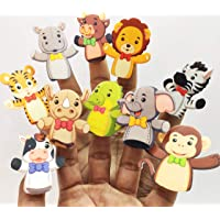 GoAppuGo Pack of 10 Finger Animals Finger Puppets Story Time Activity Toys for 1 2 3 Year Old, Educational Toys for Kids 2 3 4 Year Old, Nursery Rhymes Toys for Kids
