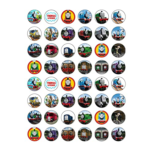 48 Round Thomas The Tank Engine Edible Wafer Paper Cake Toppers Decorations