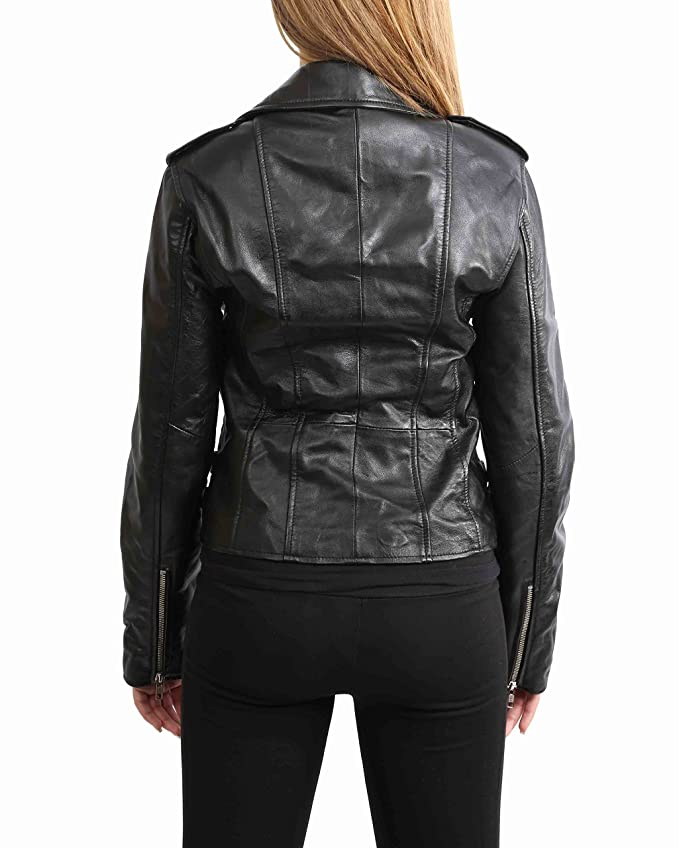 Womens Real Leather Biker Motorcycle Style Fitted Cross Zip Jacket Cara Black at Amazon Womens Coats Shop