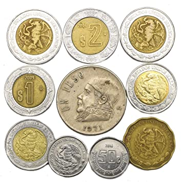 10 Old Coins from Mexico  Mexican Collectible Coins  CENTAVOS, PESOS   Perfect Choice for Your Coin Bank, Coin Holders and Coin Album