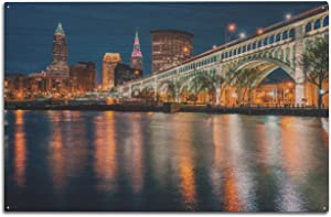 Lantern Press Cleveland, Ohio - Skyline & Detroit-Superior Bridge at Night 9035801 (10x15 Wood Wall Sign, Wall Decor Ready to Hang)