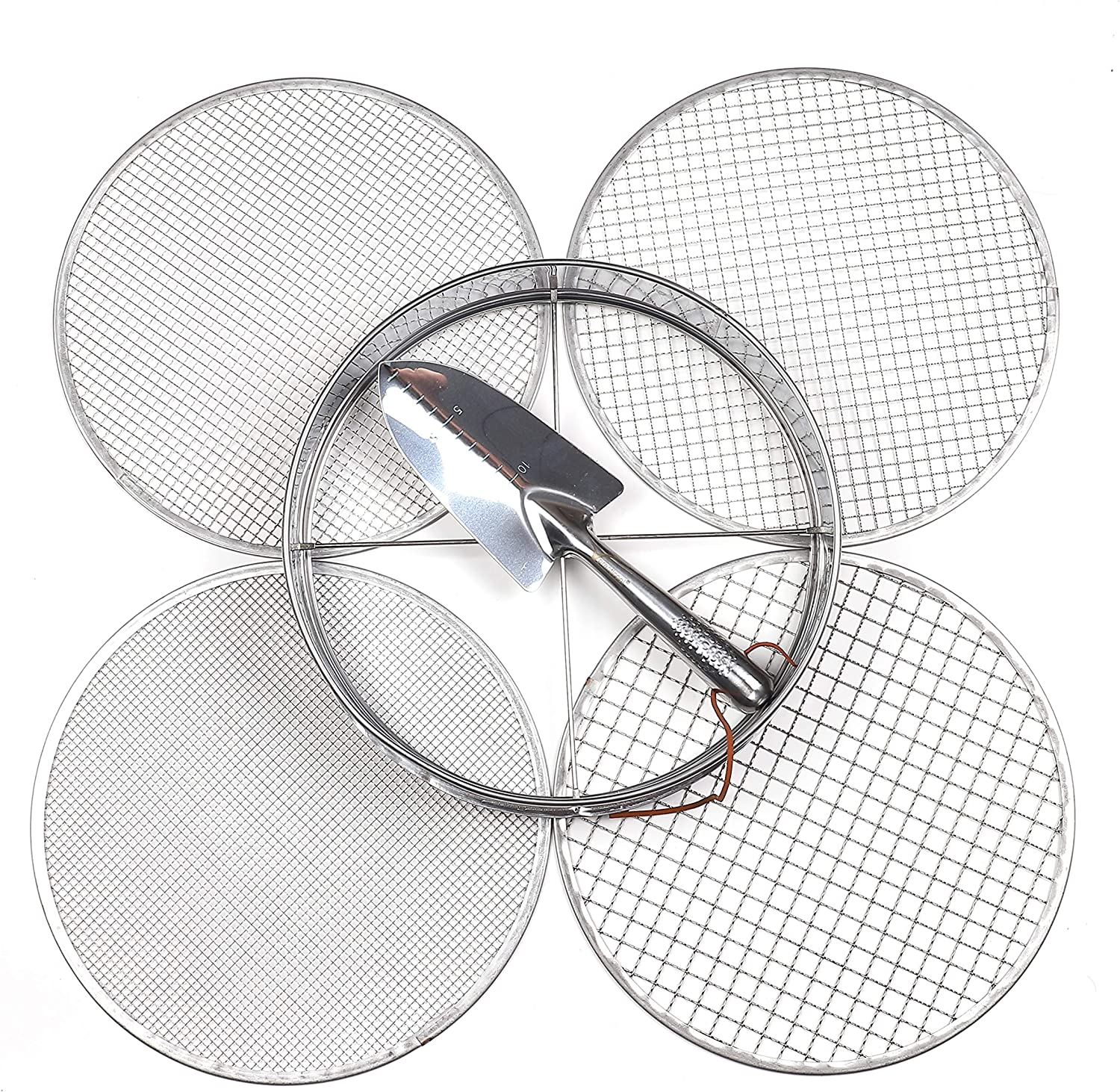 Practicool Garden Potting Mix Sieve - Stainless Steel Riddle - Soil sifting pan - with 4 Interchangeable Filter mesh Sizes - 3,6,9,12 mm and Bonus Spade