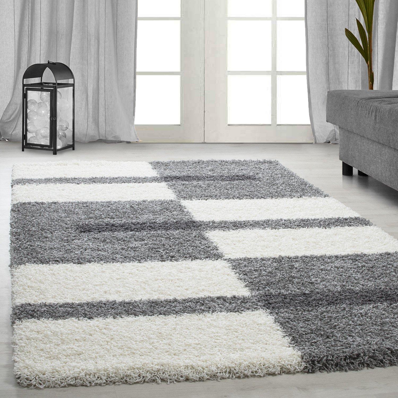 Hochflor Shaggy Teppich für Wohnzimmer Langflor Pflegeleicht Schadsstof geprüft Teppiche Streifen Oeko Tex Standarts, Farbe Hellgrau, Maße 160x230 cm
