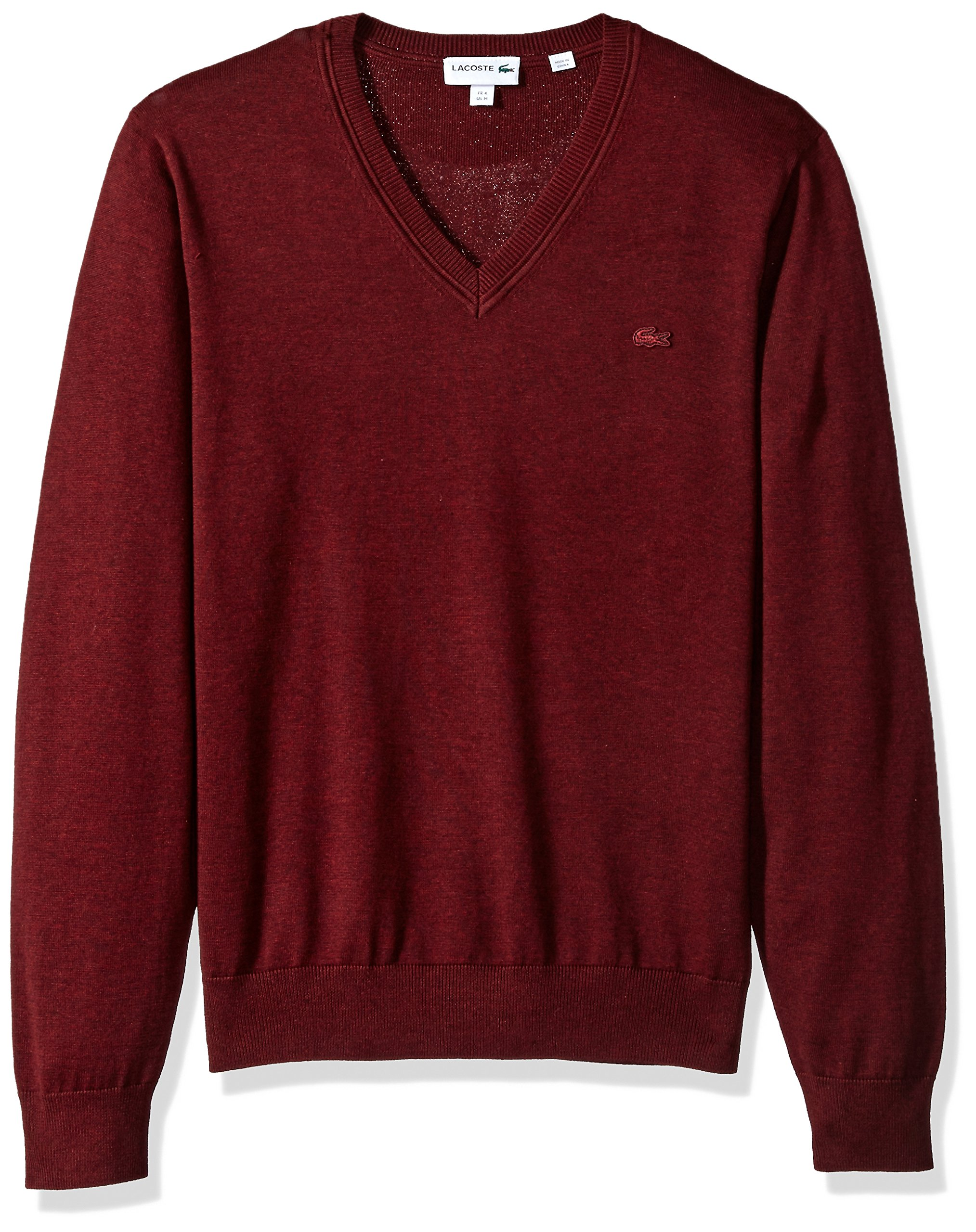 Lacoste Men's Cotton Jersey V Neck Sweater with Pique Stitch Details, Red Basque Chine, 9