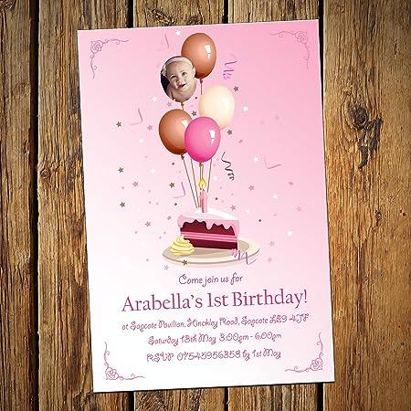 Primer cumpleaños invitaciones y sobres (globos niña – Pack de 20 ...