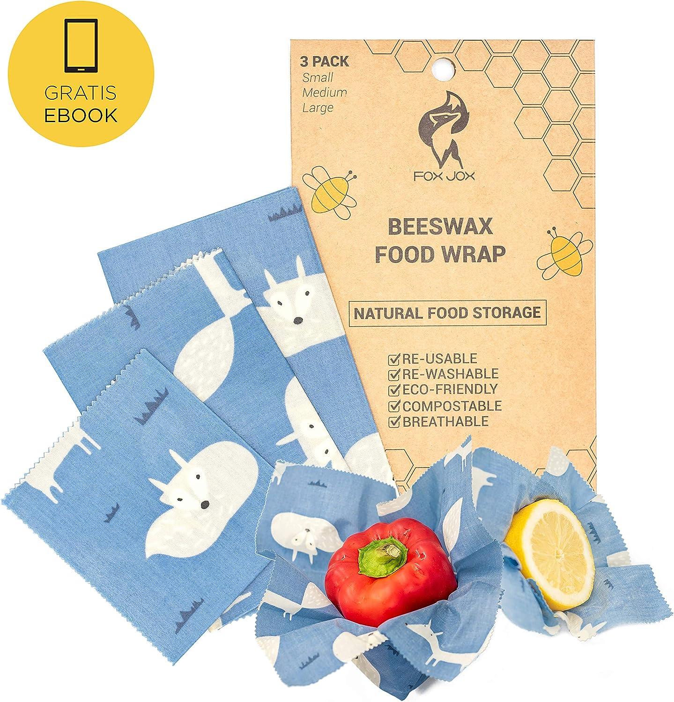Fox Jox - Envoltorios de cera de abeja reutilizables orgánicos ...