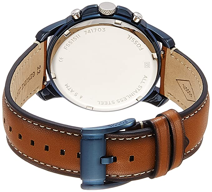 4c6636287e45 Amazon.com  Fossil Men s Grant Quartz Stainless Steel and Leather  Chronograph Watch Color  Blue