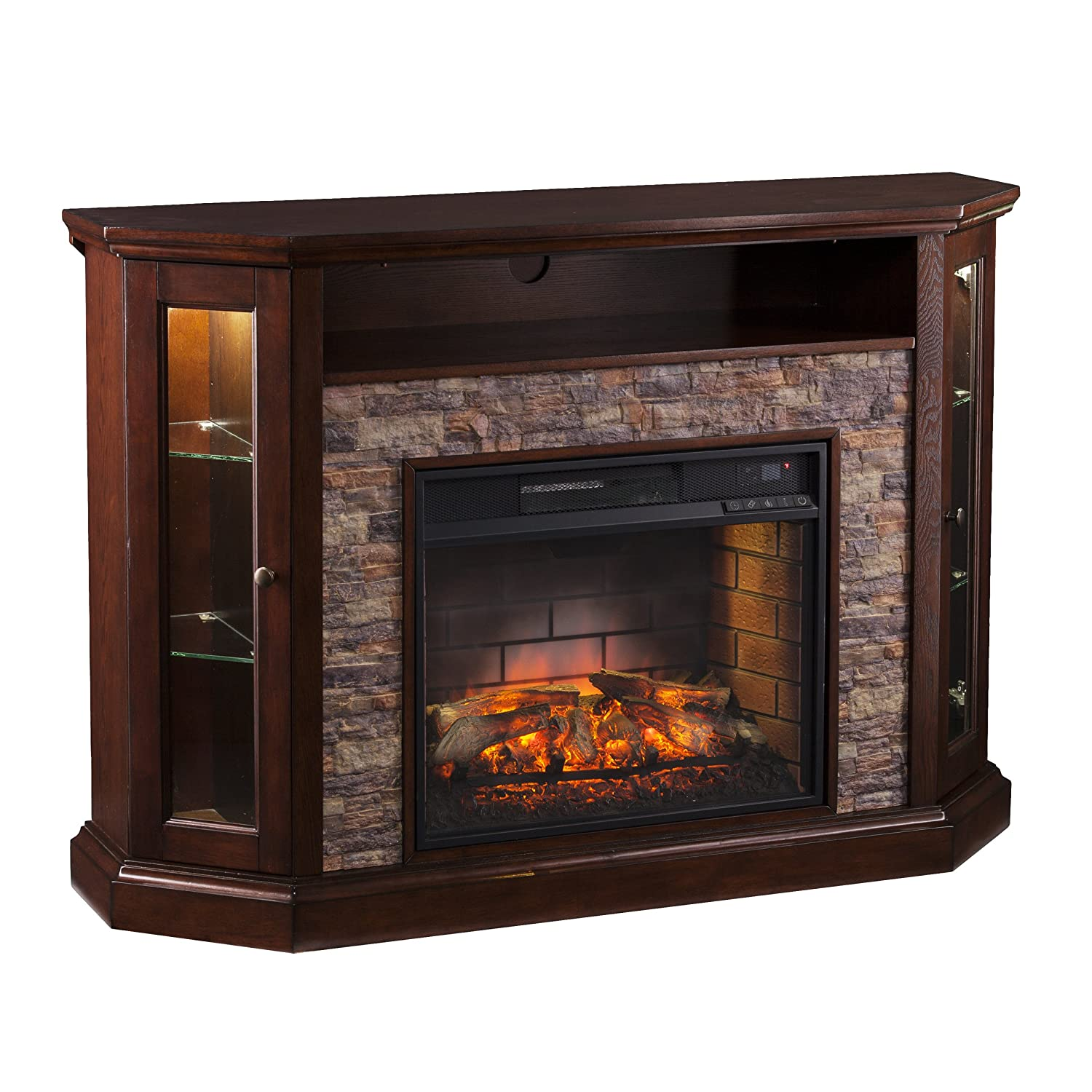 Amazon com southern enterprises rollins convertible corner infrared electric media fireplace 52 wide espresso finish and faux stone kitchen dining