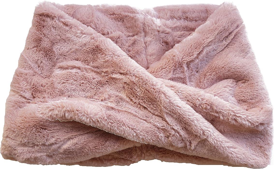 3c2efb53417 FERETI Écharpe Ronde Femmes Laine Lapin Rose En Fourrure Mohair Teddy Tube  Châle Snood Pink Rosa