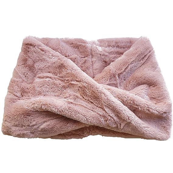 FERETI Écharpe Ronde Femmes Laine Lapin Rose En Fourrure Mohair Teddy Tube  Châle Snood Pink Rosa c8fef57ada8
