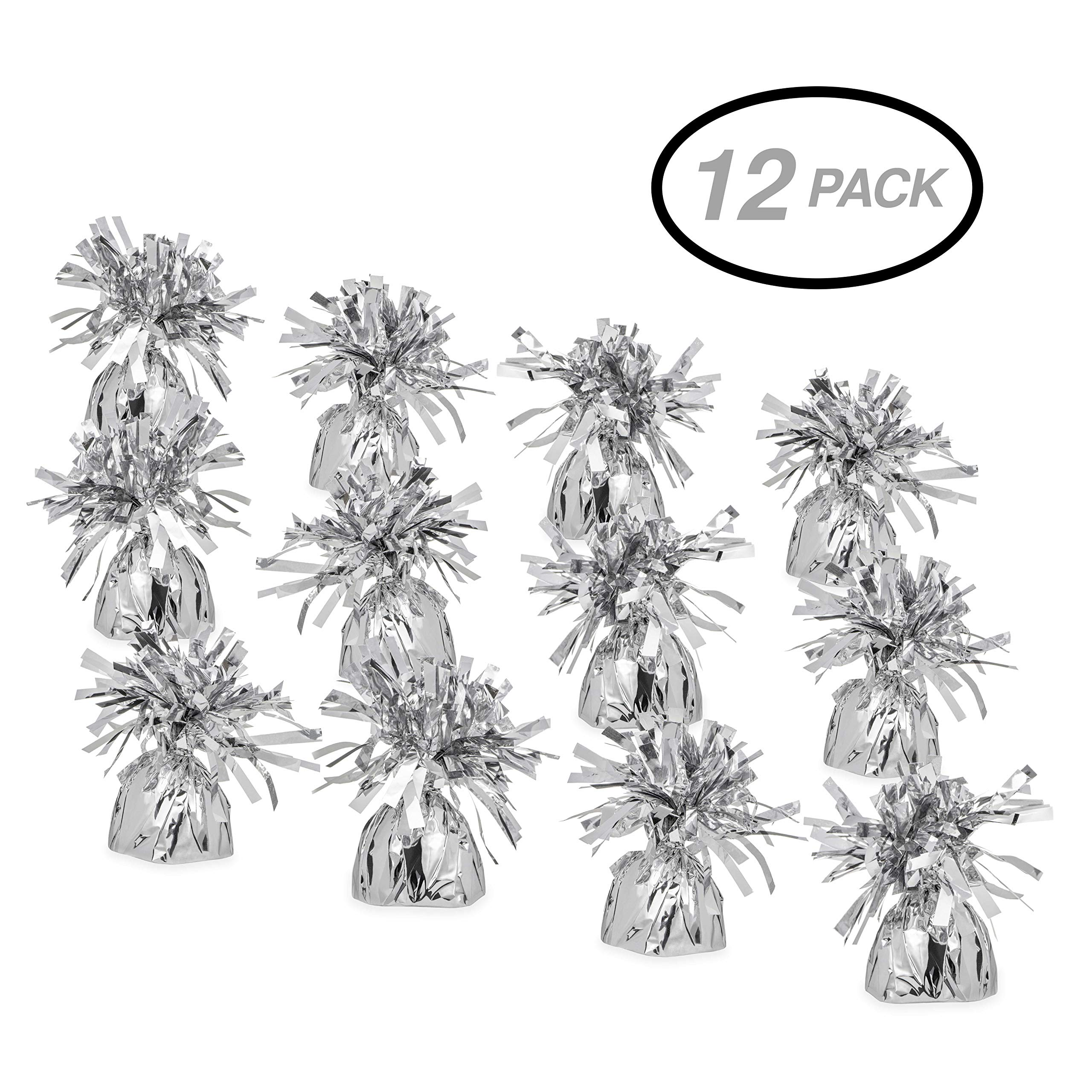 SRENTA 5.5'' Silver Metallic Wrapped Balloon Weights for Birthday Party Decoration, Pack Of 12